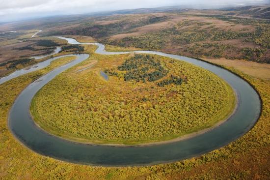 「360°蛇行川」:はがきサイズ額装